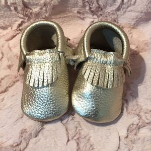 First Steps Platinum Metallic Leather Moccasins